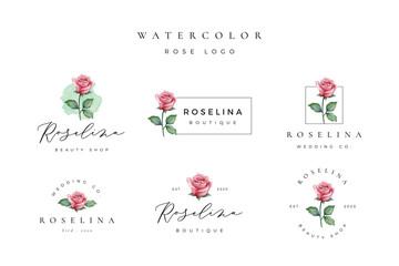 Beautiful watercolor rose logo