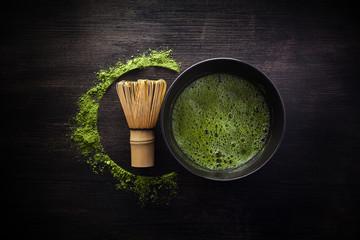 Matcha powder. Organic green matcha tea ceremony. Healthy drink. Traditional japanese drink on...