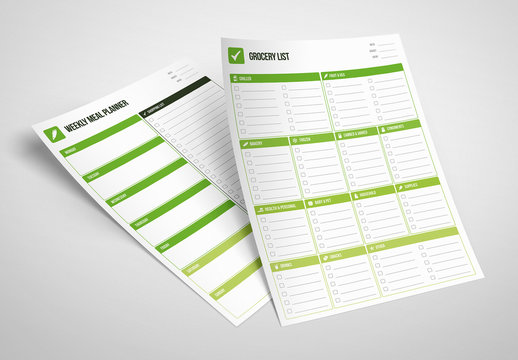 Grocery List and Meal Planner Layouts