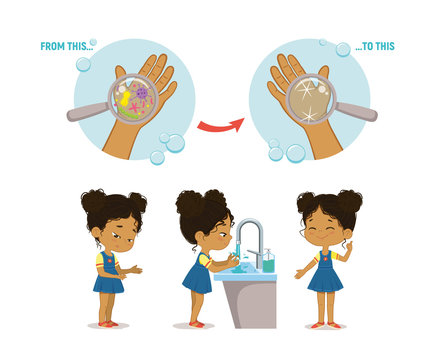 Illustration of a african american girl washing her hands on a white background. Step Poster Infographic illustration.