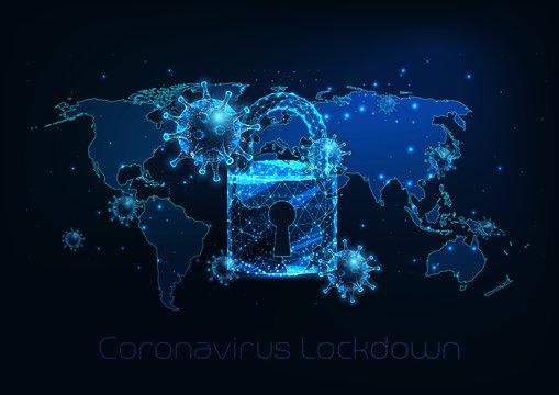 Futuristic global lockdown due to coronavirus COVID-19 disease with virus cells, padlock, world map