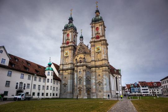 Church on main square in St Gallen, town in Switzerland