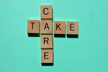 Take Care, words isolated on green