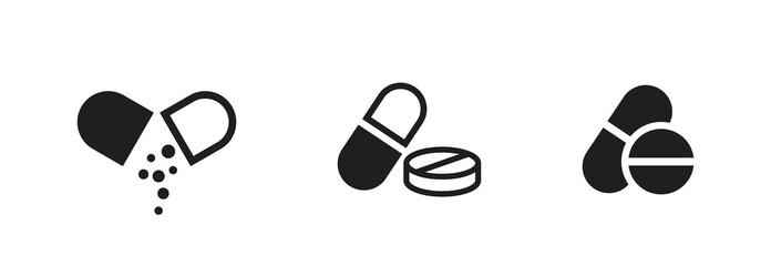 pill icon set. medicament and pharmaceutical symbol. medical design element