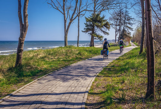 Bike lane on the Baltic Sea coast near Kolobrzeg city, Poland
