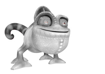 chameleon cartoon in a white background side view