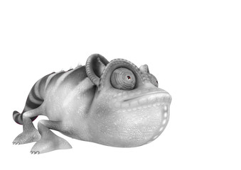 chameleon cartoon is crouched  in a white background