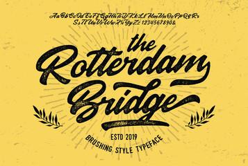 """""""The Rotterdam Bridge"""". Original Brush Script Font. Retro Typeface. Vector Illustration."""