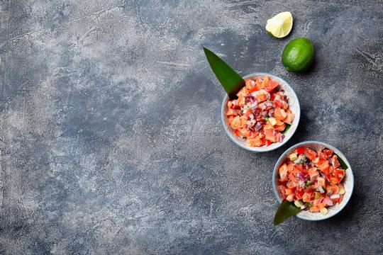 Hawaiian food Salmon Lomi Lomi. Salmon with tomatoes, onion and lemon