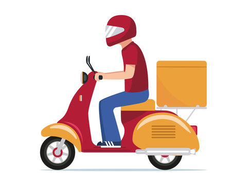 Food delivery man riding a scooter