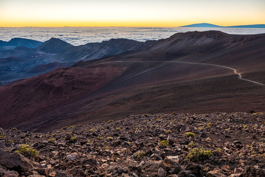 Path along the crater at sunrise.