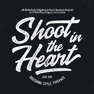 """Shoot in the Heart"". Original Brush Script Font. Retro Typeface. Vector Illustration."