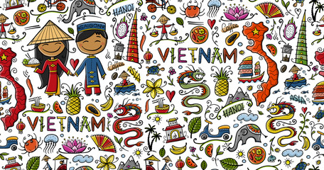 Travel to Vietnam. Seamless pattern with traditional Vietnamese cultural symbols. Vietnamese landmarks and lifestyle of people