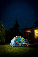 Kids Camping in Backyard