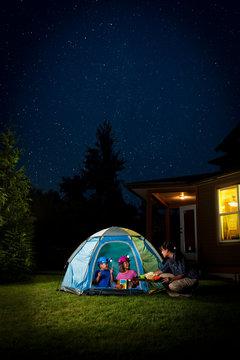 Kids Camping in Backyard