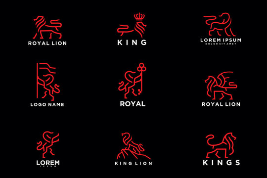 pack of lion logo. modern icon, template design