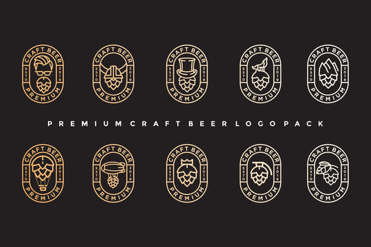 pack of vintage craft beer logo. simple icon, template design