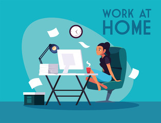 Door stickers Flame woman freelancer working remotely from her home, work at home