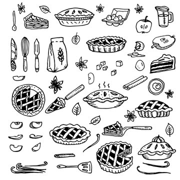 American apple pie. Ingredients, knife for peeling vegetables, flour, spatulas, shovels, spoons, vanilla sticks, kitchen utensils, dishes, loose spices. Doodle vector illustration all objects isolated