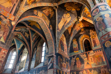 Lublin, Poland - Medieval frescoes and architecture inside the Holy Trinity Chapel within Lublin Castle royal fortress in historic old town quarter Fotomurales