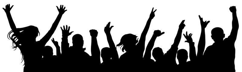 Fan happy people. Cheerful crowd of people cheering applause. Silhouette vector illustration. Party disco concert sport