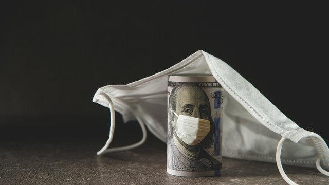 US bills and medical masks