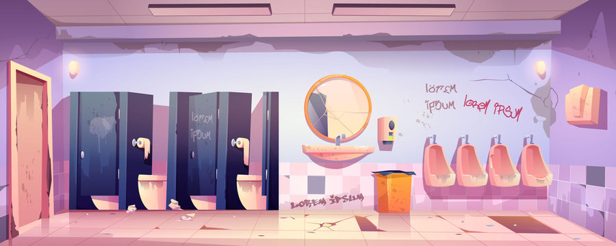 Dirty public restroom with messy toilet bowls and urinals, broken floor and mirror, graffiti drawn on wall. Vector cartoon illustration of old male lavatory, empty unclean WC interior