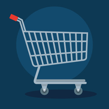 cart shopping transportation in blue background vector illustration design
