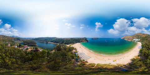 Fototapete - Spherical, 360 degrees, seamless panorama of the tropical beach of Nai Harn and its area during sunny day, Phuket island, Thailand