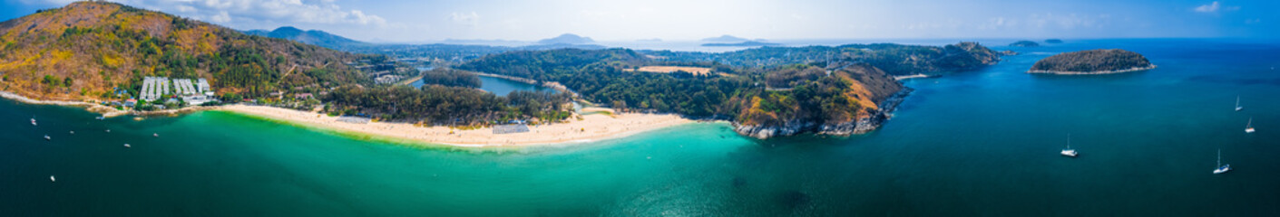 Wall Mural - Aerial panorama of the tropical beach of Nai Harn on Phuket island in Thailand