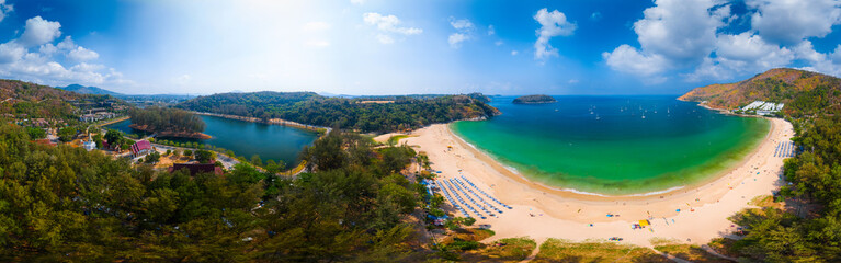 Wall Mural - Aerial panorama of the tropical beach of Nai Harn during sunny day, Phuket island, Thailand