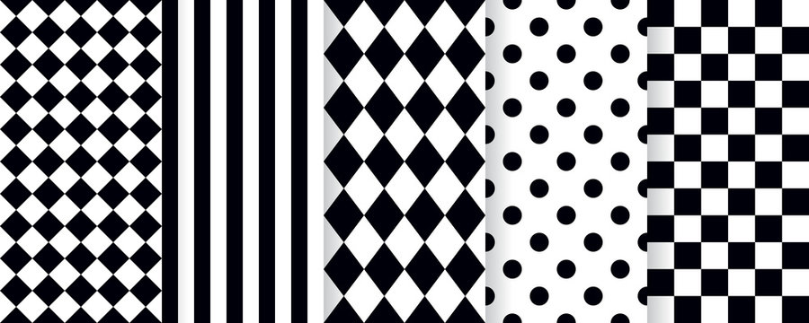 Harlequin seamless pattern. Vector. Circus black white background with rhombus, stripe, square, plaid and checkered. Grid tile texture. Geometric illustration.