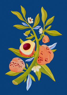 Peach Plant Illustration on Blue Background, Fruit Painting
