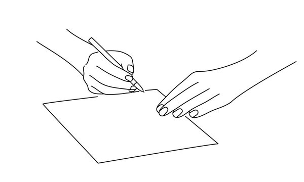 Line drawing vector illustration of hands writing letter