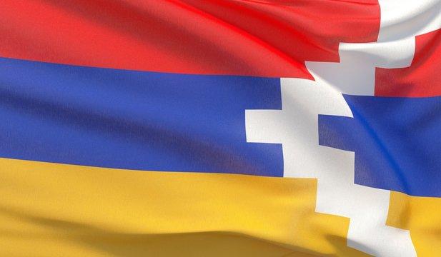 Waving national flag of Artsakh. Waved highly detailed close-up 3D render.