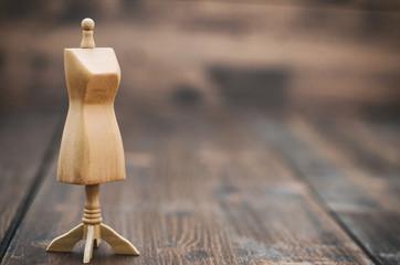 Wooden female vintage Mannequin stand , fashion design concept