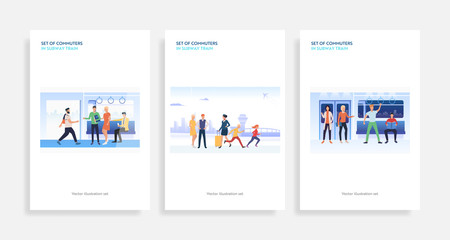 Set of commuters in subway train. Flat vector illustrations of passengers with smartphones, waiting for departure. Public transport concept for banner, website design or landing web page Fototapete