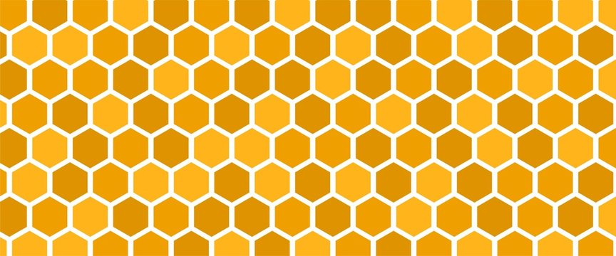 Abstract yellow geometric background with bright hex shapes. Honeycomb grid texture