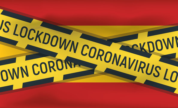 Spain flag icon and logo, coronovirus lockdown, covid 19, world epidemic, pandemic. National flag banner and template.