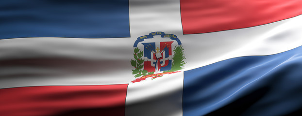 Dominican Republic national flag waving texture background. 3d illustration