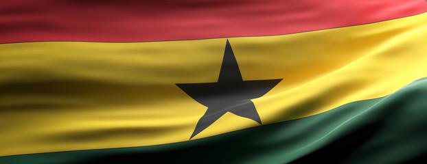 Ghana national flag waving texture background. 3d illustration