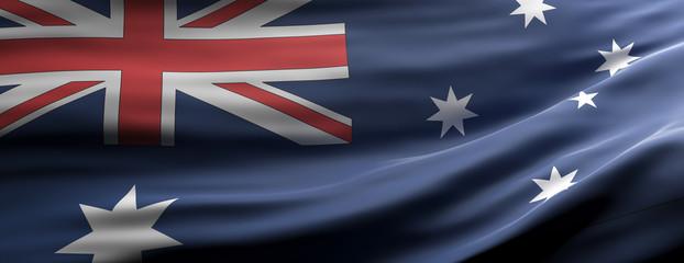 Australia national flag waving texture background. 3d illustration