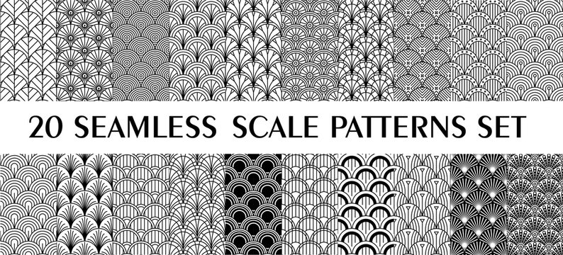 Set of 24 fish scale art deco style patterns. Retro style ornaments suitable for textile, wrapping paper, tiles and backgrounds.