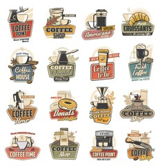 Coffee shop and cafe retro icons with vector cups, espresso machine and desserts. Cappuccino and latte mugs, coffee pot and grinder with beans, croissant, donuts and takeaway paper cup of hot beverage