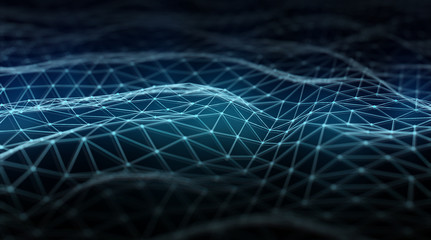 Abstract digital network connection on dark background 3D rendering