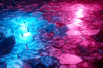 Blue and pink glowing hexagons background pattern on textured metallic surface 3D rendering