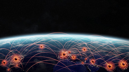 Coronavirus Covid-19 pandemic spreading in the world between countries and infecting population 3D rendering Fototapete