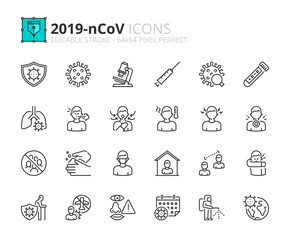 Simple set of outline icons about  2019-nCoV information.