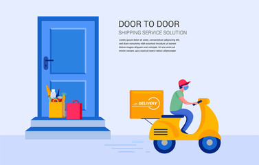 Fotorolgordijn Hoogte schaal Food delivery service concept, online order tracking. Warehouse, truck and scooter courier, with a delivery man in a respirator mask. Vector illustration