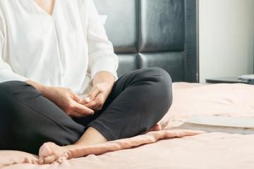 Covid-19 quarantine activity for senior woman meditating stay home to avoid risk Fototapete